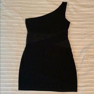 Fitted one shoulder dress with mesh cutouts